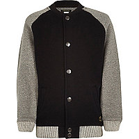 Boys black and grey contrast bomber jacket