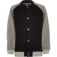 Boys black and grey contrast bomber jacket
