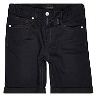 Boys dark blue coated denim shorts