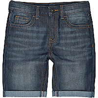 Boys dark blue mid wash denim shorts