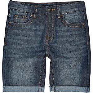 Boys dark blue mid wash denim shorts