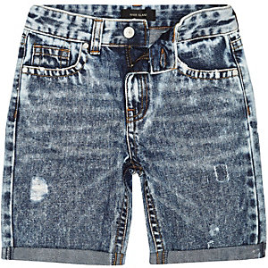 Boys blue acid wash rip shorts