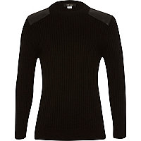 Boys ribbed contrast shoulder patch jumper