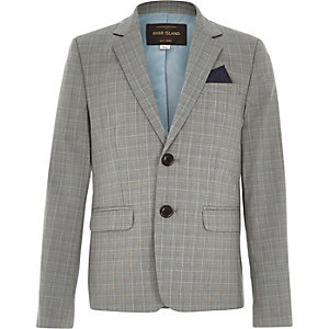 Boys grey check suit jacket