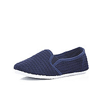 Boys navy slip on mesh shoes