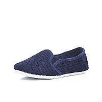 Boys navy slip on mesh shoes