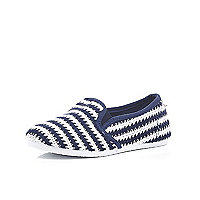 Boys navy stripe slip on mesh shoes