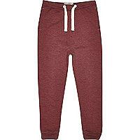 Boys dark red tapered joggers