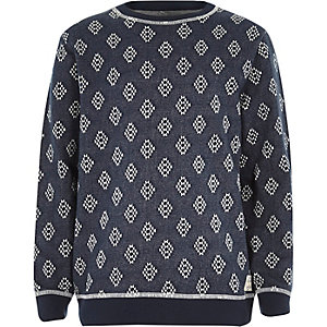 Boys navy cross jacquard sweatshirt