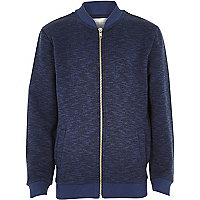 Boys navy long sleeve bomber jacket