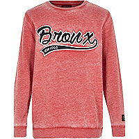 Boys red bronx applique sweatshirt