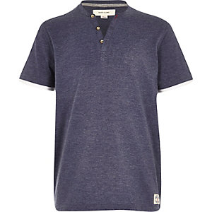 Boys blue button short sleeve t-shirt