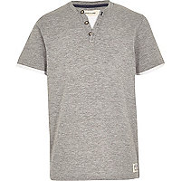 Boys grey marl button short sleeve t-shirt