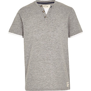Boys grey marl button short sleeve t-shirt