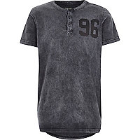 Boys grey acid wash 96 print t-shirt