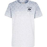 Boys grey blue cube print t-shirt
