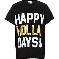Boys black happy holla day print t-shirt