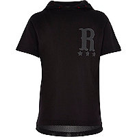 Boys black hooded rad 89 print t-shirt