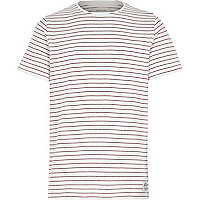 Boys white and red stripe t-shirt