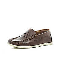 Boys brown leather slip on loafers