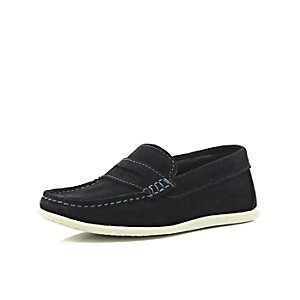 Boys navy suede slip on loafers