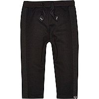 Mini boys black quilted side panel joggers