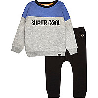 Mini boys cool sweatshirt and jogger set