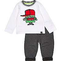 Mini boys white monster print outfit
