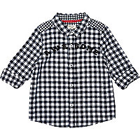 Mini boys navy gingham awesome print shirt
