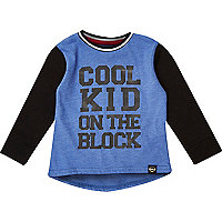 Boys blue cool kid on the block print t-shirt