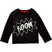 Mini boys black boom print t-shirt