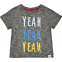 Mini boys grey yeah yeah yeah print t-shirt