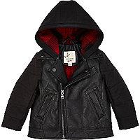 Mini boys pu hooded biker jacket