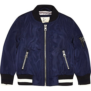 Mini boys navy branded bomber jacket