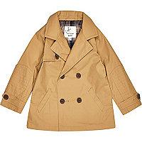 Mini boys tan double breasted mac coat