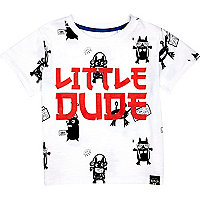 Mini boys white little dude t-shirt