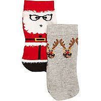 Mini boys santa reindeers socks 2 pack
