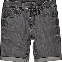 Boys grey medium wash denim shorts