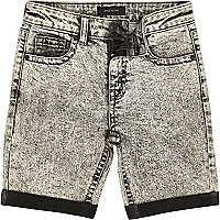 Boys grey acid wash denim shorts