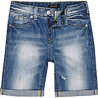 Boys blue mid wash rip denim shorts