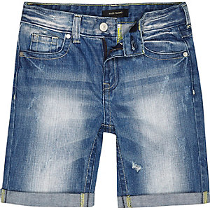 Boys blue mid wash rip denim shorts