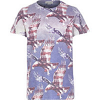 Boys blue eagle american flag print t-shirt