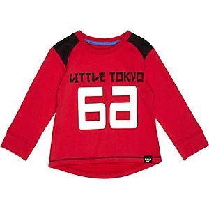Mini boys red Tokyo 66 print t-shirt