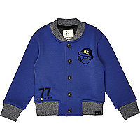 Mini boys fleece monkey print bomber jacket