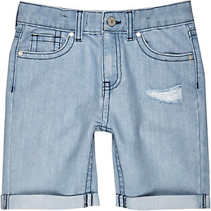 Boys light wash ripped denim shorts