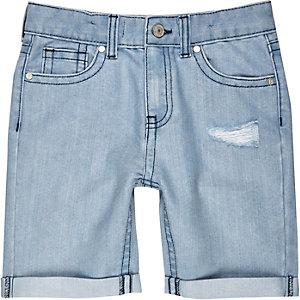 Boys light wash ripped denim shorts