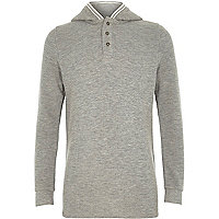 Boys grey waffle hooded top