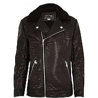 Boys textured Pu faux fur collar biker jacket