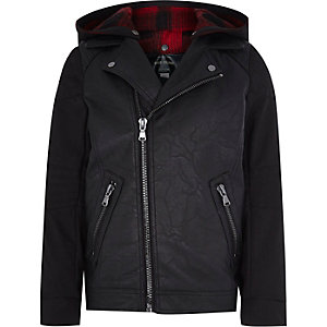 Boys black leather-look hooded biker jacket