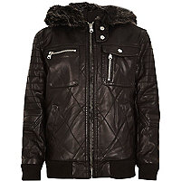 Boys black pu faux fur hood biker jacket